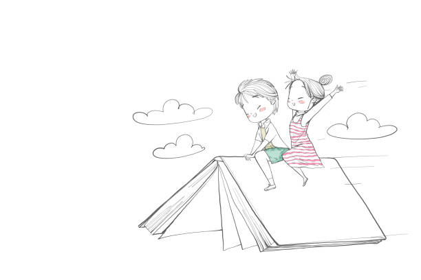 귀여운 어린이 소년과 소녀는 책을 타고 - reading stock illustrations