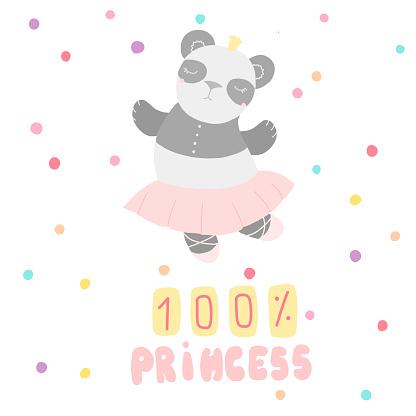 Cute children's card panda ballerina lettering, flat style