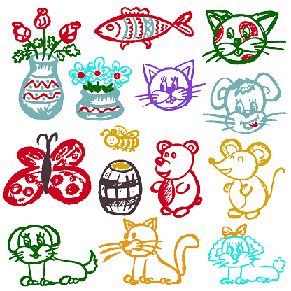 Cute children's drawing. Icons, signs, symbols, pins