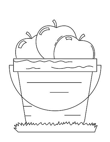 Cute Children's Farm Coloring Book Page - Apple Bushel