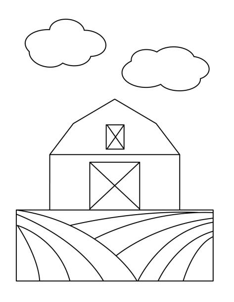 cute children's farm coloring book page - barn - clip art of a black and white barn stock illustrations, clip art, cartoons, & icons