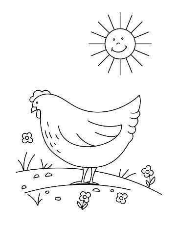 Cute Children's Farm Coloring Book Page - Chicken