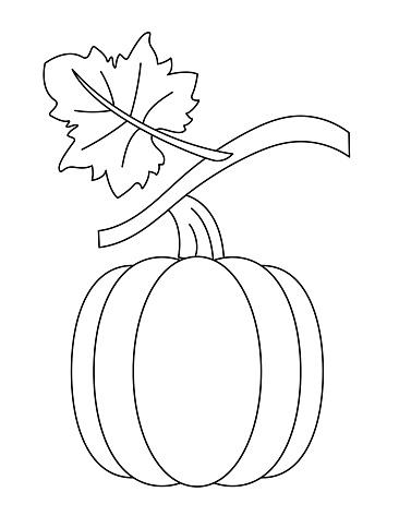 Cute Children's Farm Coloring Book Page - Pumpkin