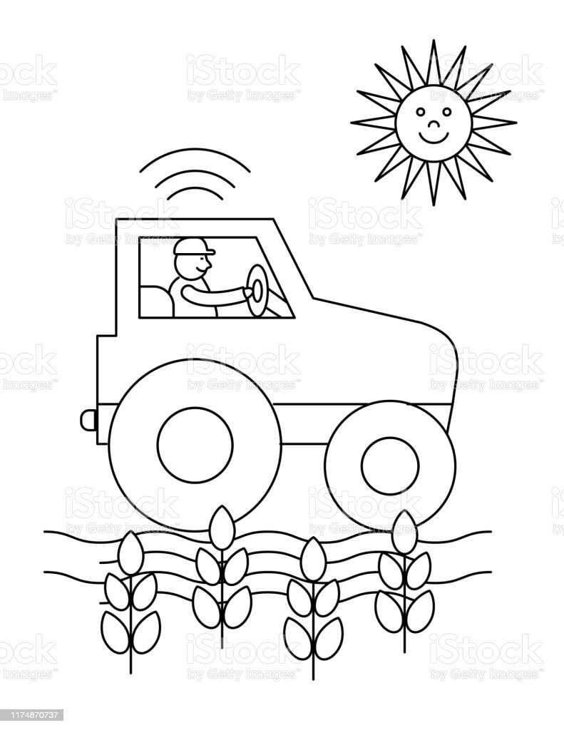 Cute Childrens Farm Coloring Book Page Tractor Stock Illustration Download Image Now Istock