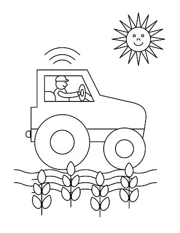 Cute Children's Farm Coloring Book Page - Tractor