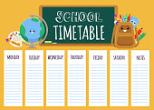 Cute children's school timetable with weekly list template and cartoon stationery characters. Flat primary education poster - vector illustration
