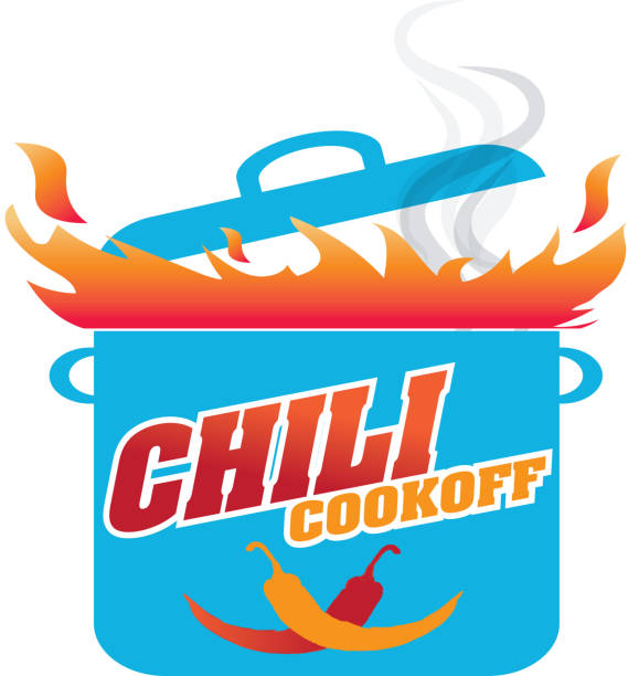Cute Chili cookoff event or icon design Vector illustration of a Chili Cookoff logo or icon design template. Bright and colorful. Includes red, blue and orange color themes with large crock pot on flames. White background Perfect for white background design for picnic invitation design template, summer barbecue event, picnic celebration, backyard bbq, private or corporate party, birthday party, fun family event gathering, potluck supper. cooking competition stock illustrations