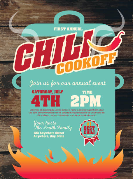Cute Chili cookoff invitation design template on wooden background Vector illustration of a Chili Cookoff invitation design template. Bright and colorful. Includes yellow, red color themes with turquoise large crock pot on flames. Wooden background Perfect for white background design for picnic invitation design template, summer barbecue event, picnic celebration, backyard bbq, private or corporate party, birthday party, fun family event gathering, potluck supper. cooking competition stock illustrations