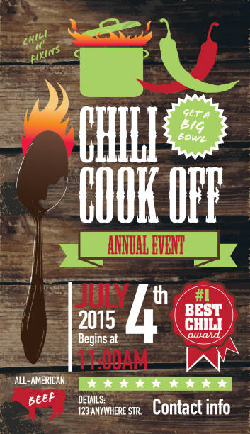 Cute Chili cookoff invitation design template on wooden background Vector illustration of a Chili Cookoff invitation design template. Bright and colorful. Includes green, red color themes with green large crock pot on flames. Wooden background Perfect for white background design for picnic invitation design template, summer barbecue event, picnic celebration, backyard bbq, private or corporate party, birthday party, fun family event gathering, potluck supper. cooking competition stock illustrations