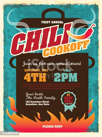 Vector illustration of a Chili Cookoff invitation design template. Bright and colorful. Includes yellow, turquoise color themes with large crock pot on flames. Textured background Perfect for white background design for picnic invitation design template, summer barbecue event, picnic celebration, backyard bbq, private or corporate party, birthday party, fun family event gathering, potluck supper.