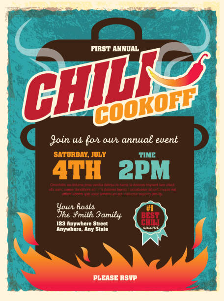 Cute chili cookoff party invitation design template Vector illustration of a Chili Cookoff invitation design template. Bright and colorful. Includes yellow, turquoise color themes with large crock pot on flames. Textured background Perfect for white background design for picnic invitation design template, summer barbecue event, picnic celebration, backyard bbq, private or corporate party, birthday party, fun family event gathering, potluck supper. cooking competition stock illustrations