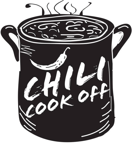 Cute Chili pot cookoff event icon design Vector illustration of a hand drawn Chili Cookoff logo or icon design template. Black and white. Includes red, black and white color themes with large crock pot with chilis. White background Perfect for white background design for picnic invitation design template, summer barbecue event, picnic celebration, backyard bbq, private or corporate party, birthday party, fun family event gathering, potluck supper. cooking competition stock illustrations