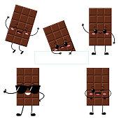 Cute chocolate bar character with funny face. Happy dark or milk chocolate emoji set. Cartoon kawaii sweet food emoticon vector illustration.