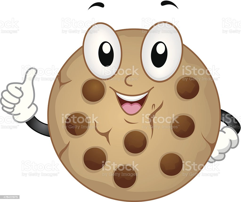 Cute Chocolate Chip Cookie vector art illustration