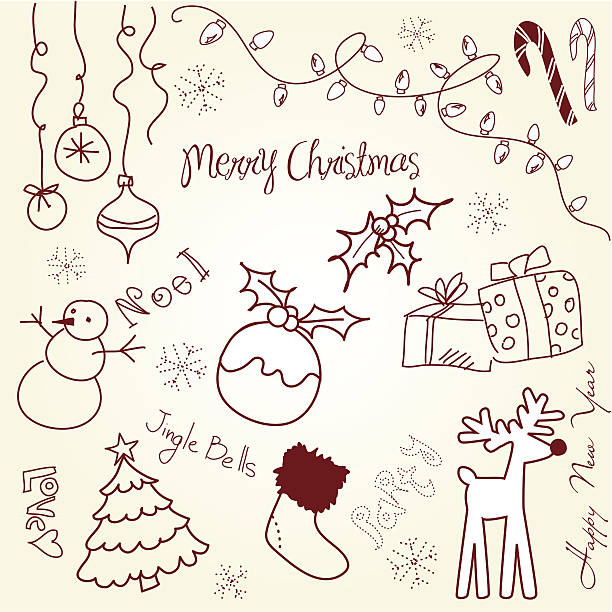 Cute Christmas and New Year doodles vector art illustration