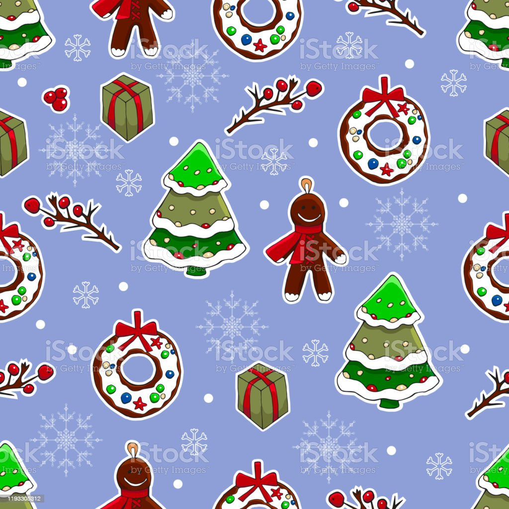 cute christmas and new year hand drawn background vector seamless vector id1193305312