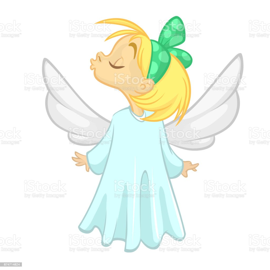 cute christmas angel girl send a kiss character vector illustration isolated royalty free cute - A Christmas Angel