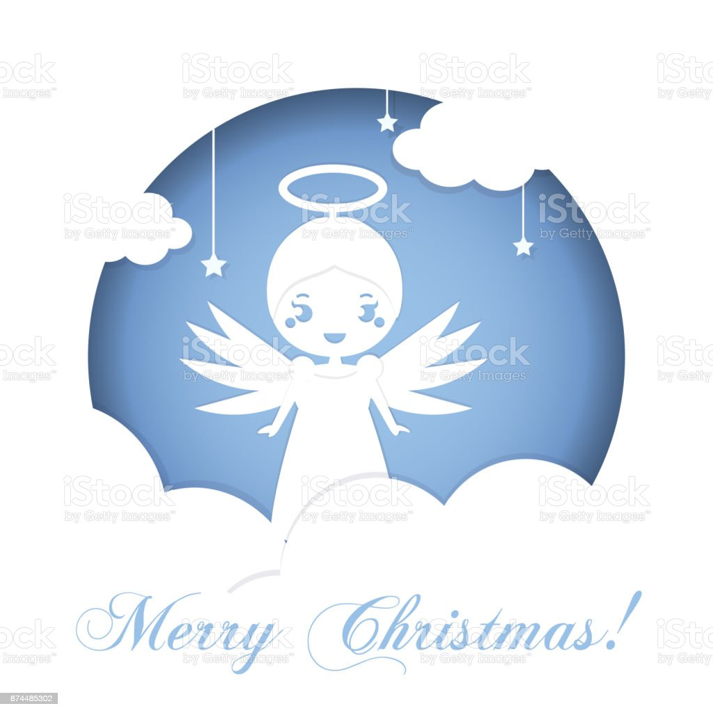 Cute Christmas Angel Standing On Clouds In Heaven Background In