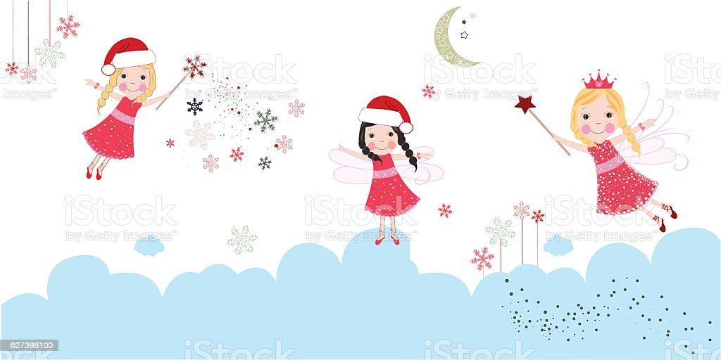 Christmas Angels.Cute Christmas Angels Merry Christmas Greeting Card Stock Illustration Download Image Now