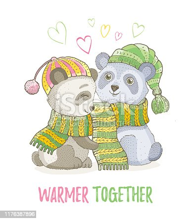 Cute Christmas animal, asian panda bear couple in knitted scarf. Merry Xmas, New Year cartoon chinese icon. For girl t-shirt print, poster design, card design. Hand drawn vector illustration isolated