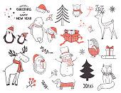 Cute christmas animals and elements set. Cartoon vector illustration