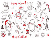 Cute christmas animals and elements set