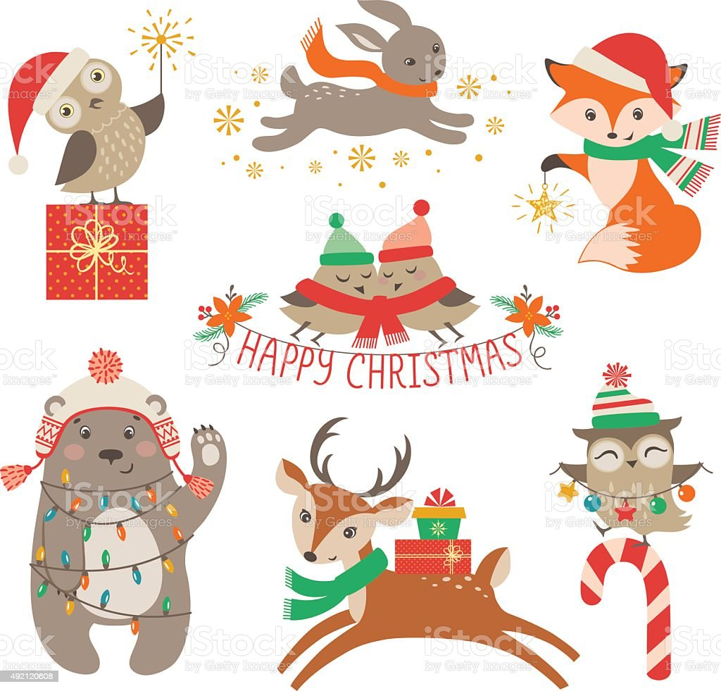 Cute Christmas Animals Stock Illustration - Download Image ...
