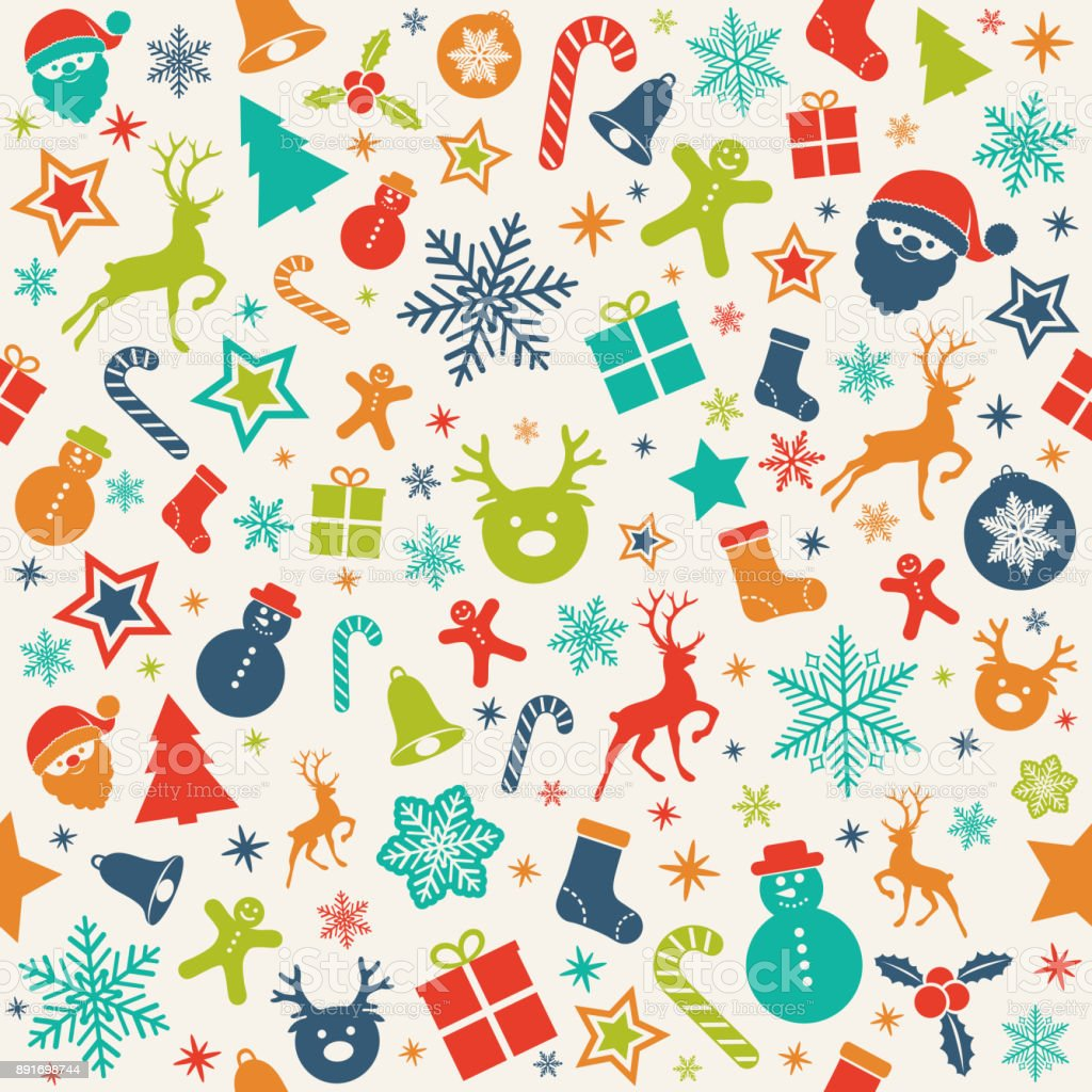 Christmas Backgrounds Cute.Cute Christmas Background With Different Icons Vector Stock Illustration Download Image Now