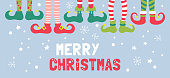 Cute Christmas banner design with elf feet in socks and shoes. Childish print for cards and party invitations. Vector Illustration