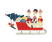 Cute bowling pins in sleigh flat vector icon. Comic pin in snowman costume cartoon. Winter season holiday bowling parties design element. Christmas New year event celebration background illustration