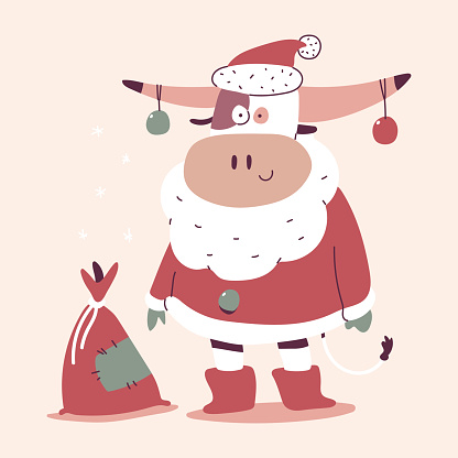 Cute Christmas bull in Santa Claus costume and sack with gifts vector cartoon character isolated on background.