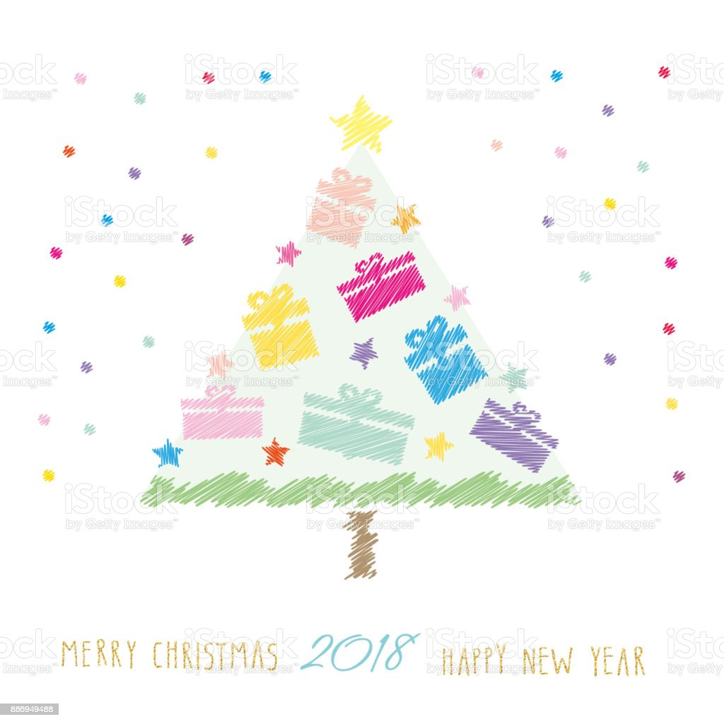 Cute Christmas Card Happy New Year 2018 Children S Drawing Style ...