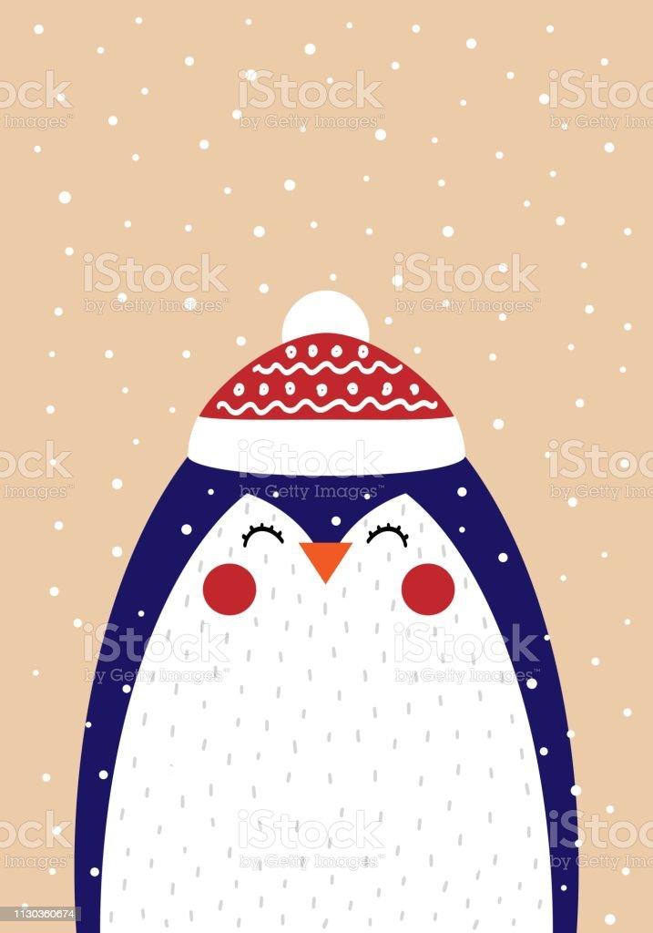 Lindo cartão de Natal com uma foto de um pinguim num estilo escandinavo - ilustração de arte em vetor