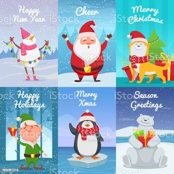Cute christmas cards with funny characters vector pictures in cartoon vector id869367318?b=1&k=6&m=869367318&s=612x612&h=q 77xokqtsq8ajflp yr s4qdpsl h6zkx6fc3bz0ck=