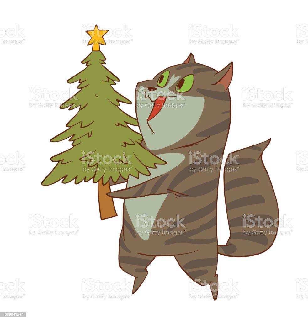緑の木のかわいいクリスマス猫 お祝いのベクターアート素材や画像を