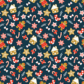 Cute Christmas cookies seamless pattern. Sweet and delicious Christmas concept.