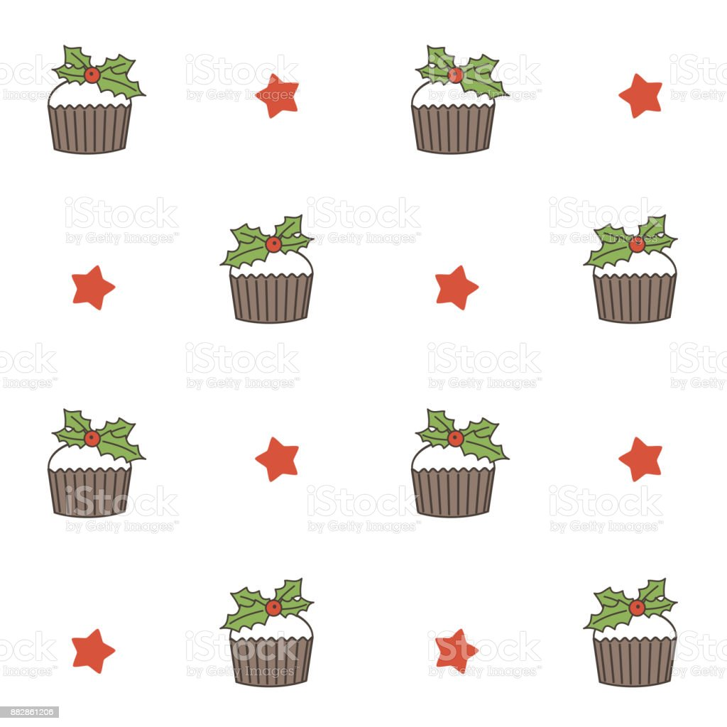 cute christmas cupcake seamless vector pattern background illustration vector art illustration