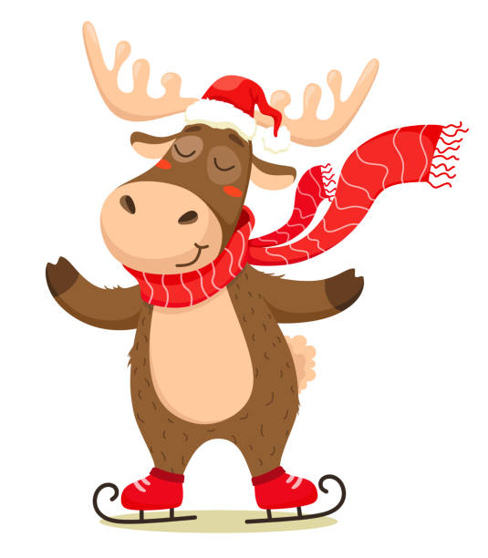 A cute Christmas deer with a scarf skating and wearing a Santa Claus hat. Vector isolate on white background. A cute Christmas deer with a scarf skating and wearing a Santa Claus hat. Vector isolate on white background. moose stock illustrations