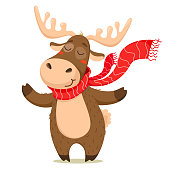 A cute Christmas deer with a scarf. Vector isolate on white background.