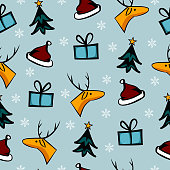 Cute christmas doodle seamless pattern colorful background vector illustration for kids, children, and baby holiday fashion textile print.