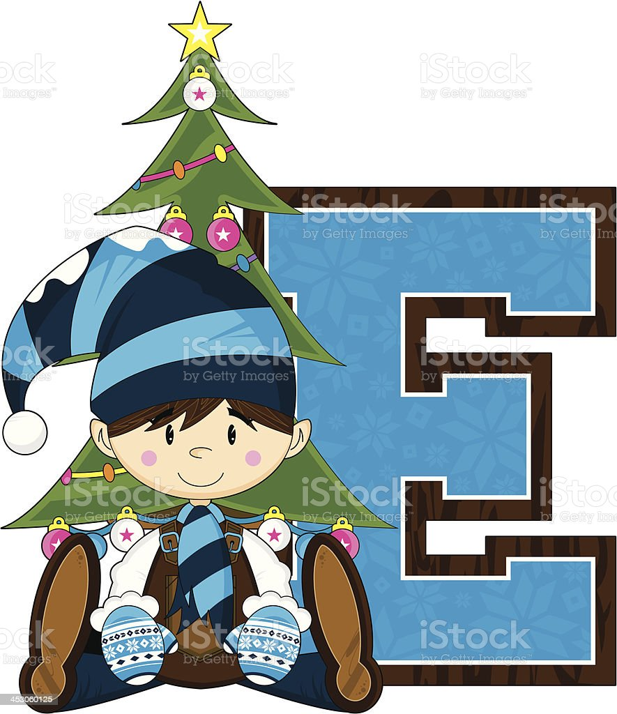 Cute Christmas Elf Learning Letter E royalty-free cute christmas elf learning letter e stock vector art & more images of alphabet