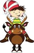 Cute Christmas Elf Riding Reindeer