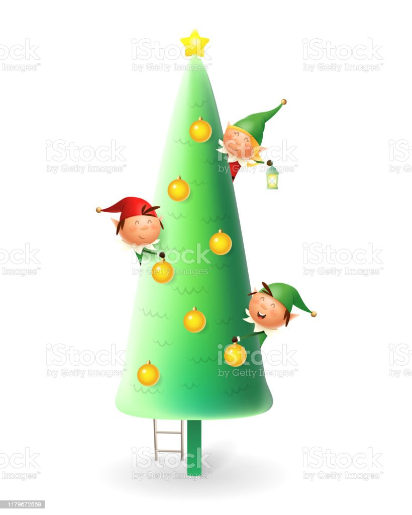 Cute Christmas Elves Decorating Christmas Tree Vector Illustration Isolated On White Background Stock Illustration Download Image Now Istock
