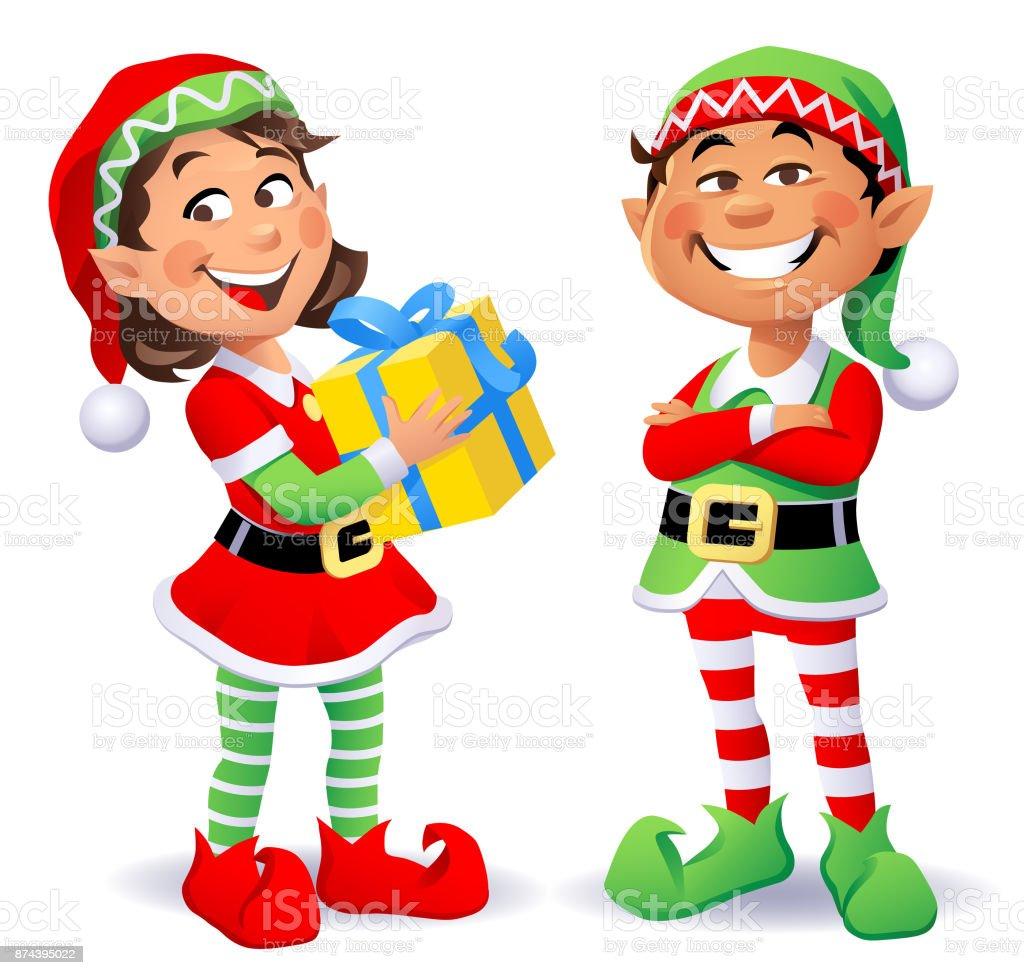Cute Christmas Elves Stock Illustration - Download Image ...