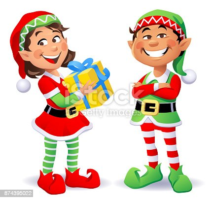 Vector illustration of two cheerful Christmas elves wearing santa hats and pantyhoses. A boy having his arms crossed, and a girl carrying a christmas present, looking at the camera.