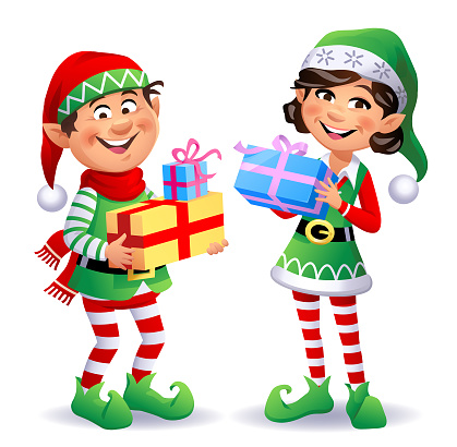 Vector illustration of two cute Christmas elves, a boy and a girl, wearing santa hats and pantyhoses, carrying Christmas presents.