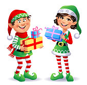 istock Cute Christmas Elves With Presents 1283817129