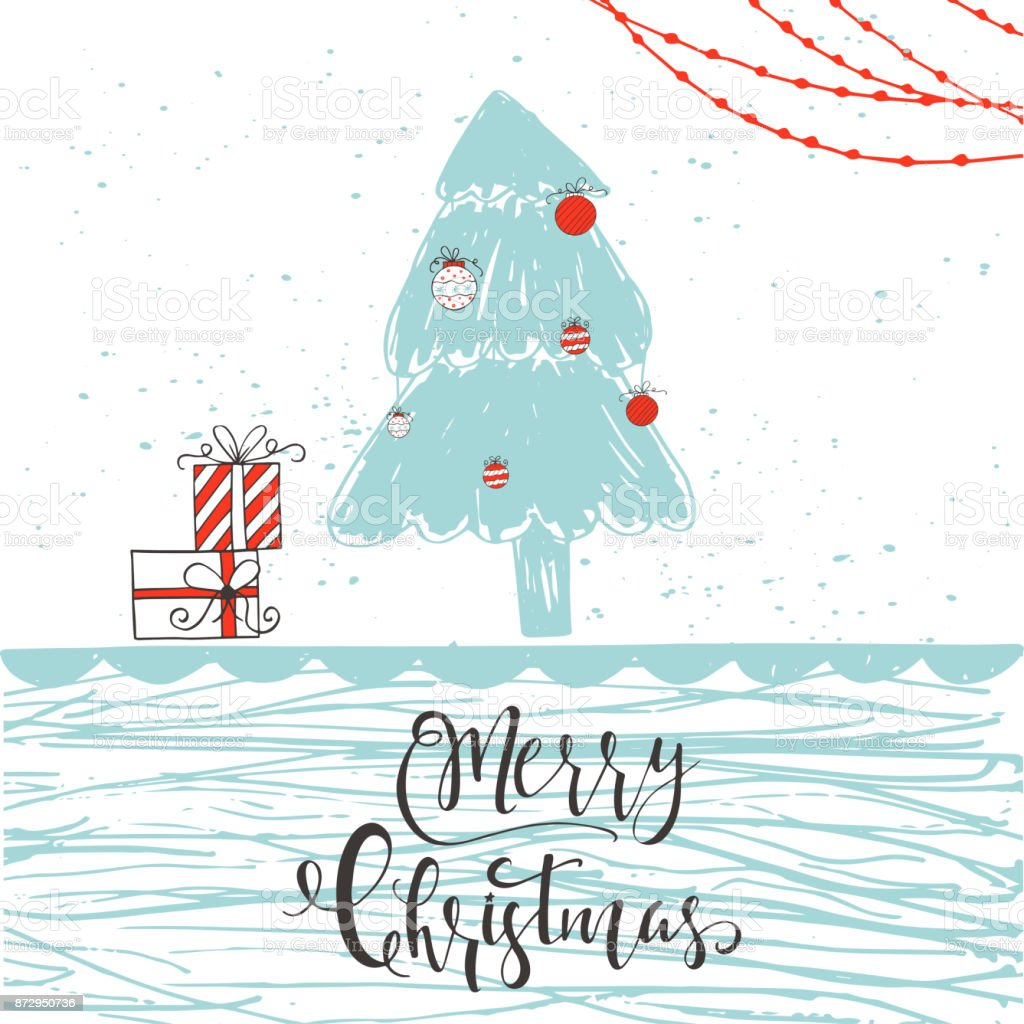 Cute Christmas Gift Card With Quote Merry Christmas Stock Vector Art ...