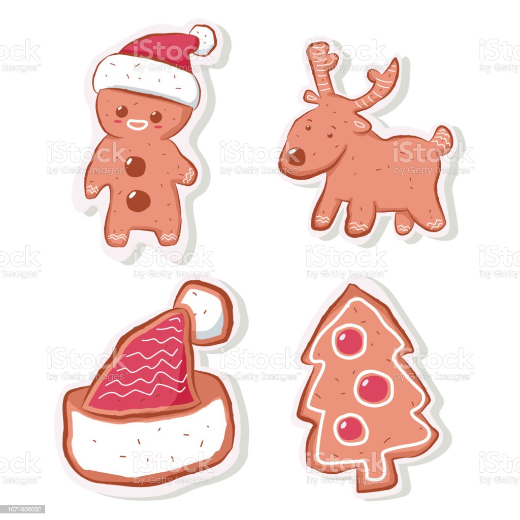 Cute Christmas Gingerbread Cookie In Shape Of Man Reindeer