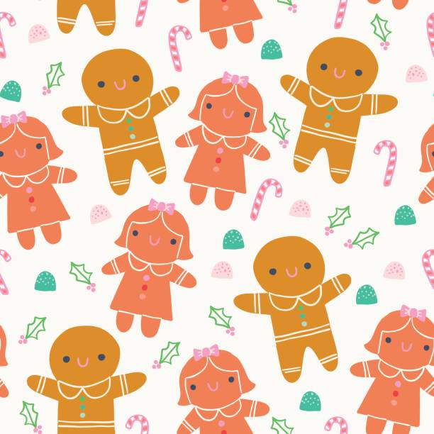 Cute Christmas Gingerbread Illustration Seamless Pattern Cute Christmas pattern with gingerbread cookies and candy icons gum drop stock illustrations